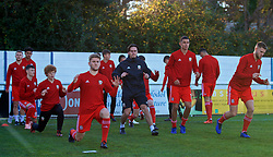 BANGOR, WALES - Saturday, November 17, 2018: Wales' captain Ryan Reynolds during the pre-match warm-up before the UEFA Under-19 Championship 2019 Qualifying Group 4 match between Sweden and Wales at the Nantporth Stadium. Brandon Cooper, Brennan Johnson. (Pic by Paul Greenwood/Propaganda)