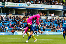 Gavin Reilly of Bristol Rovers challenges Ryan Allsop and Jason McCarthy of Wycombe Wanderers - Mandatory by-line: Robbie Stephenson/JMP - 18/08/2018 - FOOTBALL - Adam's Park - High Wycombe, England - Wycombe Wanderers v Bristol Rovers - Sky Bet League One