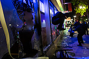 OAKLAND, CA - MAY 29: Protesters vandalize a Chase bank in Downtown Oakland during protests against the death of George Floyd in police custody, in Oakland, California on May 29, 2020. (AP Photo/Philip Pacheco)