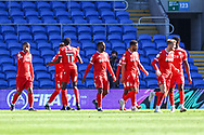 CELE 0-1 Nottingham Forest's James Garner (37) celebrates scoring his side's first goal with his team mates during the EFL Sky Bet Championship match between Cardiff City and Nottingham Forest at the Cardiff City Stadium, Cardiff, Wales on 2 April 2021.