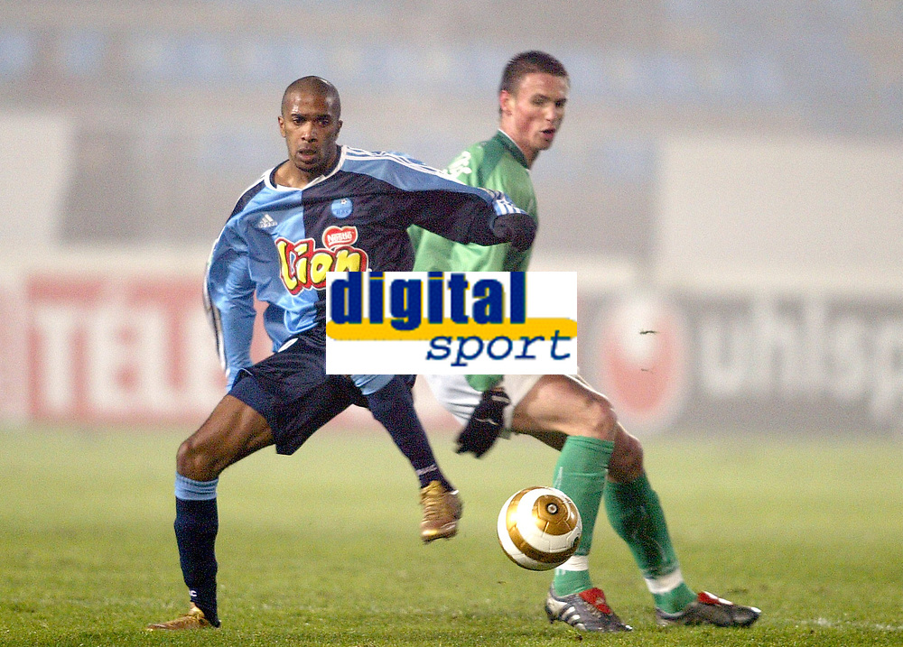 Fotball<br /> Frankrike 2004/05<br /> Ligacup<br /> Le Havre v Saint Etienne<br /> 21. desember 2004<br /> Foto: Digitalsport<br /> NORWAY ONLY<br /> OLIVIER DAVIDAS (HAV) / ANTHONY LE TALLEC (ST-E)