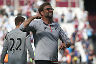 Liverpool Manager Jurgen Klopp celebrates his teams win  at the final whistle. Premier league match, West Ham Utd v Liverpool at the London Stadium, Queen Elizabeth Olympic Park in London on Sunday 14th May 2017.<br /> pic by Steffan Bowen, Andrew Orchard sports photography.