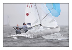 470 Class European Championships Largs - Day 2.Wet and Windy Racing in grey conditions on the Clyde...GBR857, Ben SAXTON, Richard MASON, Royal Thames YC...