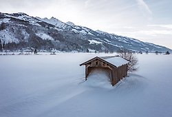 THEMENBILD - ein Heustadl in der Winterlandschaft, aufgenommen am 16. Januar 2019 in Kaprun, Oesterreich // a hay barn in the winter landscape in Kaprun, Austria on 2019/01/15. EXPA Pictures © 2019, PhotoCredit: EXPA/ JFK
