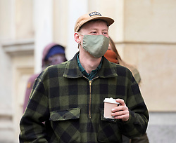 © Licensed to London News Pictures; 02/03/2021; Bristol, UK. MILO PONSFORD of The Colston Four arrive at Bristol Crown Court for the first day of their trial. Defendants Rhian Graham, 29, Milo Ponsford, 25, Jake Skuse, 32, and Sage Willoughby, 21, have been charged with criminal damage in connection with damage to the statue of slave trader Edward Colston which was pulled down during a Black Lives Matter protest on June 7 2020 and then thrown into Bristol Harbour. Photo credit: Simon Chapman/LNP.