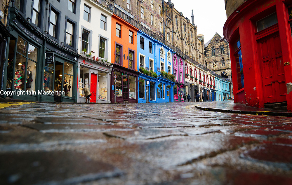 Edinburgh, Scotland, UK. 31 December 2020. Views of streets in Edinburgh during level 4 Covid-19 lockdown. Few people on the streets as all shops and cafes are closed.  Pic; Victoria Street in the old Town is deserted. Iain Masterton/Alamy Live News