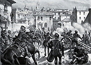 "Attack on the uprising at Segovia 1521. During the war of the ""comunidades"" (1520-1521), Segovia rose against Charles V, resisting the imperial troops for six months in the fortress under the command of Diego de Cabrera, preventing the fortress being taken by the comuneros who had become powerful in the walled enclosure of the city. The Romanesque Cathedral in front of the fortress was destroyed as a consequence of this."