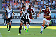 Angelo FULGINI (SCO Angers) with the ball, Gaetan LABORDE (Girondins de Bordeaux), Younousse SANKHARE (Girondins de Bordeaux), Vincent MANCEAU (SCO Angers) during the French championship L1 football match between SCO Angers and Bordeaux on August 6th, 2017 at Raymond-Kopa stadium, France - PHOTO Stéphane Allaman / ProSportsImages / DPPI