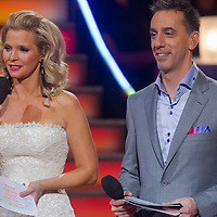 """Ildiko Kovalcsik """"Lilu"""" and Andras Csonka """"Pici"""" hosts of the live broadcast celebrity dancing talent show Saturday Night Fever by Hungarian television company RTL II in Budapest, Hungary on March 16, 2013. ATTILA VOLGYI"""