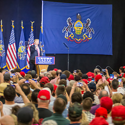 Manheim, PA - October 1, 2016: Donald J. Trump speaking to an oversized crowd at his campaign political rally Lancaster County.