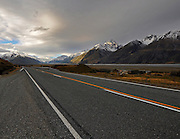 New Zealand South Island mountain and road landscape