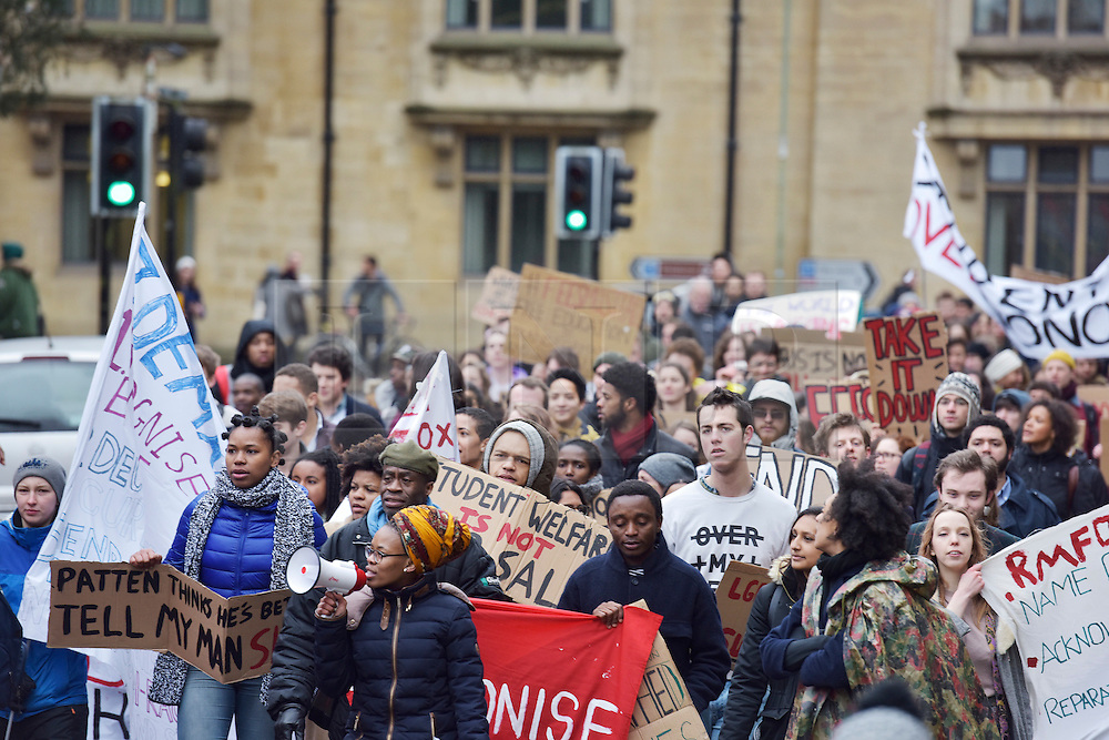 © Licensed to London News Pictures. 09/03/2016 Rhodes must fall demonstration and march through Oxford. Protest outside Oriel College followed by a march through the streets of Oxford. Photo credit : MARK HEMSWORTH/LNP