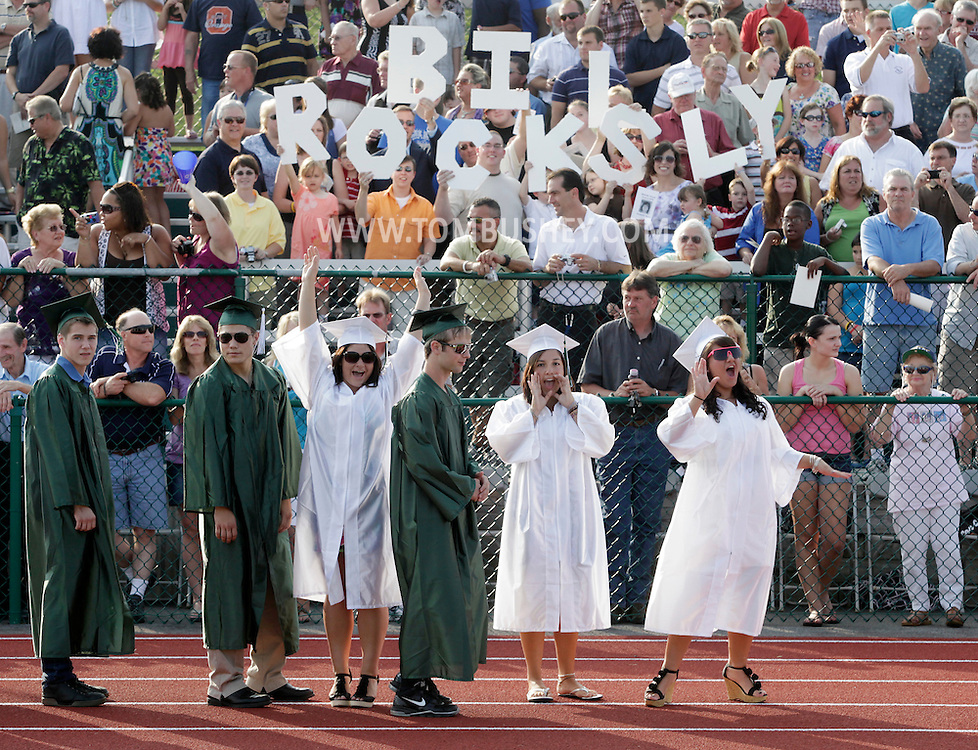 Minisink Valley graduates celebrate as the class of 2010 is introduced during commencement exercise in Slate Hill on Friday, June 25, 2010.