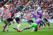 Sheffield Utd forward Billy Sharp (10) scores his opening goal 1-0 during  the EFL Sky Bet Championship match between Sheffield United and Bristol City at Bramall Lane, Sheffield, England on 30 March 2019.