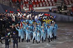 February 25, 2018 - Pyeongchang, KOREA - Athletes from Kazakhstan during the closing ceremony for the Pyeongchang 2018 Olympic Winter Games at Pyeongchang Olympic Stadium. (Credit Image: © David McIntyre via ZUMA Wire)