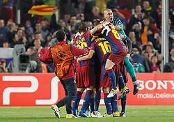03-05-2011 VOETBAL: SEMI FINAL CL  FC BARCELONA - REAL MADRID: BARCELONA<br /> Lionel Messi, Thiago Alcantara, Ibrahim Afellay, Sergio Busquets, Andres Iniesta, Daniel Alves, Victor Valdes, Eric Abidal, Xavi Hernandez celebrate the victory<br /> *** NETHERLANDS ONLY***<br /> ©2011-FH.nl- EXPA/ Alterphotos/ Acero
