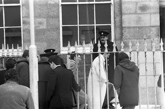 Peter Robinson At Special Criminal Court.  (R48)..1987..13.01.1987..01.13.1987..13th January 1987..Following a masked incursion into Clontibret, Co Monaghan,Ulster politician Peter Robinson and two others were charged by the police. The incursion was to highlight Unionist opposition to the Anglo Irish Agreement. As a result Mr Robinson faced the Special Criminal Court In Dublin. Mr Robinson was convicted for unlawful assembly and fined £17,500. Charges relating to assault on Gardai and malicious damages were dropped. Afterwards Mr Robinson said that he was thankful to the court for not imposing a custodial sentence...Picture shows Peter Robinson arriving for his trial at the Special Criminal Court in Green Street, Dublin.