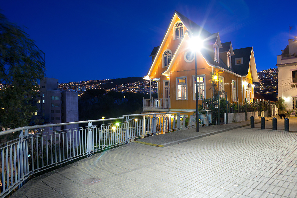Valparaiso, Chile - The traditional architecture of a restaurant on the hills of Valparaiso.
