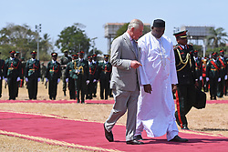 The Prince of Wales with President Adama Barrow at McCarthy Square, Banjul in The Gambia, at the official welcome ceremony for The Prince of Wales and Duchess of Cornwall on day two of their trip to west Africa.
