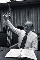1977, Minneapolis, Minnesota, USA --- Democratic Senator and former Vice President Hubert Humphrey practices a speech. --- Image by © Owen Franken/CORBIS