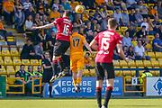 Mihai Popescu of St Mirren wins the ball ahead of Scott Robinson of Livingstone during the Ladbrokes Scottish Premiership match between Livingston and St Mirren at Tony Macaroni Arena, Livingstone, Scotland on 20 April 2019.