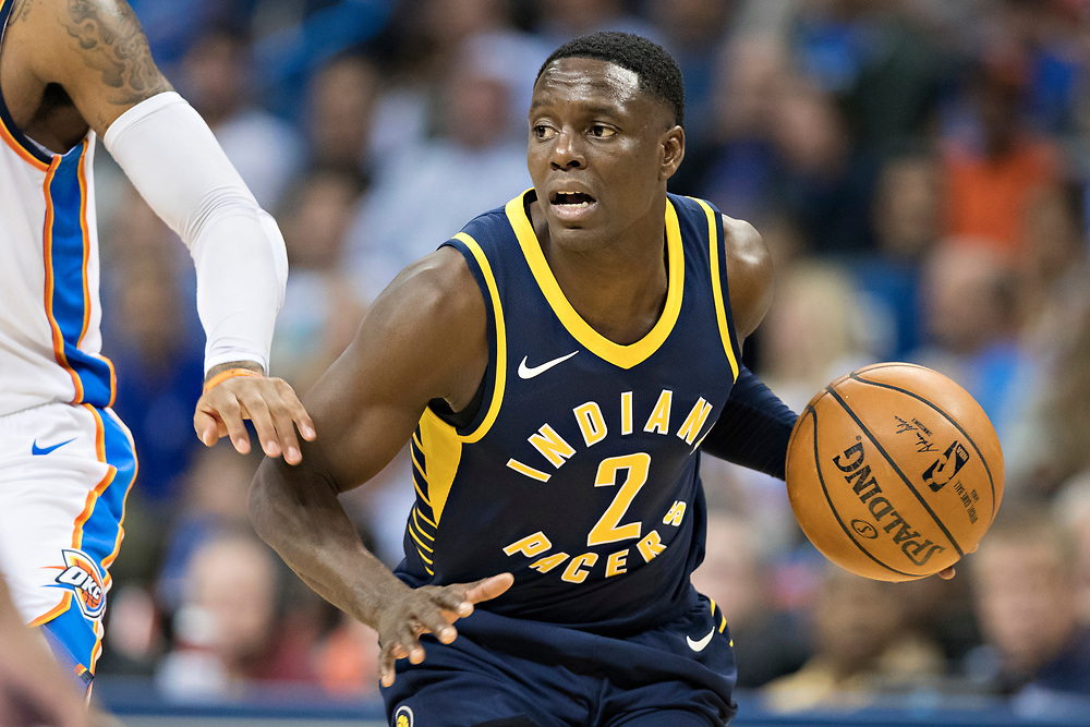 OKLAHOMA CITY, OK - OCTOBER 25:  Darren Collison #2 of the Indiana Pacers brings the ball down the court during a game against the Oklahoma City Thunder at the Chesapeake Energy Arena on October 25, 2017 in Oklahoma City, Oklahoma.  NOTE TO USER: User expressly acknowledges and agrees that, by downloading and or using this photograph, User is consenting to the terms and conditions of the Getty Images License Agreement.  The Thunder defeated the Pacers 114-96.  (Photo by Wesley Hitt/Getty Images) *** Local Caption *** Darren Collison