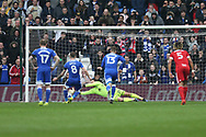 Joe Ralls of Cardiff city (8) scores Cardiff's 1st goal from a penalty. EFL Skybet championship match, Cardiff city v Birmingham City at the Cardiff City Stadium in Cardiff, South Wales on Saturday 11th March 2017.<br /> pic by Andrew Orchard, Andrew Orchard sports photography.