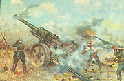 Russian postcard showing german artillery battery firing on a Russian position. World War II circa 1942