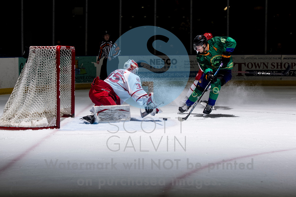 Youngstown Phantoms lose 5-4 to the Dubuque Fighting Saints at the Covelli Centre on March 13, 2021.<br /> <br /> Jack Malone, forward, 18 <br /> Hobie Hedquist, goalie, 35