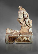 Roman Sebasteion relief  sculpture of Herakles or Hercules Drunk Aphrodisias Museum, Aphrodisias, Turkey.  Against a grey background.<br /> <br /> Herakles or Hercules staggers along drunk, supported by a small satyr from the entourage of Dionysus. He is wearing the head ribbon of a drinking party, where he has been in a drinking contest with Dionysus. The wine god has conquered even the mighty hero of the Twelve Labours. .<br /> <br /> If you prefer to buy from our ALAMY STOCK LIBRARY page at https://www.alamy.com/portfolio/paul-williams-funkystock/greco-roman-sculptures.html . Type -    Aphrodisias     - into LOWER SEARCH WITHIN GALLERY box - Refine search by adding a subject, place, background colour, museum etc.<br /> <br /> Visit our ROMAN WORLD PHOTO COLLECTIONS for more photos to download or buy as wall art prints https://funkystock.photoshelter.com/gallery-collection/The-Romans-Art-Artefacts-Antiquities-Historic-Sites-Pictures-Images/C0000r2uLJJo9_s0