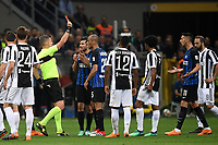 Referee Daniele Orsato check the video assistant referee and then sent off Matias Vecino of Inter .<br /> Espulsione Matias Vecino Inter. <br /> Milano 28-04-2018 Stadio Giuseppe Meazza in San Siro Football Calcio Serie A 2017/2018 Inter - Juventus Foto Andrea Staccioli / Insidefoto