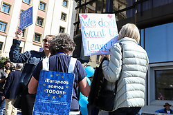 March 23, 2019 - Madrid, Spain - A participant seen wearing a placard on his back disapproving Brexit during the demonstration..The British community in Spain demonstrated in favor of another referendum on Brexit at Plaza de Colón ''in defense of the rights of the five million Europeans in the United Kingdom and British in the European Union and to request a second referendum on the exit of Great Britain from the EU  (Credit Image: © Jesus Hellin/SOPA Images via ZUMA Wire)
