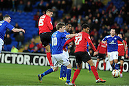 Cardiff city's Rudy Gestede (15) heads home to score to make it 1-1. NPower championship, Cardiff city v Leicester city at the Cardiff city stadium in Cardiff, South Wales on Tuesday 12th March 2013.  pic by  Andrew Orchard, Andrew Orchard sports photography,