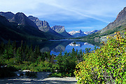 St. Mary Lake and Wild Goose Island in fall. Glacier National Park, Montana
