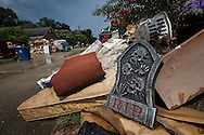 Halloween decorations with the rest of the contents removed from flooded homes in Denahm Springs Louisiana following a 1000 year flood that impacted numerous parishes in Southern Louisiana.