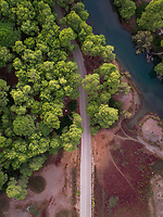 Aerial view of a road in Kalogria Lagoon, Greece.