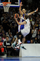15.04.2015, Palacio de los Deportes stadium, Madrid, ESP, Euroleague Basketball, Real Madrid vs Anadolu Efes Istanbul, Playoffs, im Bild Real Madrid´s Andres Nocioni and Anadolu Efes´s Nenad Krstic // during the Turkish Airlines Euroleague Basketball 1st final match between Real Madrid vand Anadolu Efes Istanbul t the Palacio de los Deportes stadium in Madrid, Spain on 2015/04/15. EXPA Pictures © 2015, PhotoCredit: EXPA/ Alterphotos/ Luis Fernandez<br /> <br /> *****ATTENTION - OUT of ESP, SUI*****