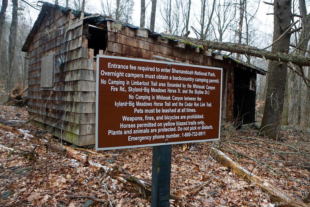NPS warning sign regarding regulations for Whiteoak Canyon Trail and Falls, Shenandoah National Park, Virginia