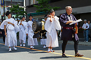 Sanja matsuri, Asakusa, Tokyo, Japan. Sunday May 21st 2017 . The Sanja matsuri (Three shrines festival) is one of the biggest Shinto festivals in Japan. It takes place for 3 days around the third weekend of May and features over 100 large and small mikoshi, or portable shrines, which are paraded around the streets of the historic Asakusa district in Tokyo. to bring blessings and good luck on the inhabitants. The events attracts up to 2 million visitors each year.