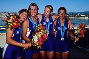 Sydney Olympics 2000 - Penrith Lakes, NSW.GBR W4X right to left. Miriam Batten, Kathrine Grainger, Gillian Lindsay and Guin Batten [Mandatory Credit: Intersport Images] 2000 Olympic Regatta Sydney International Regatta Centre (SIRC) 2000 Olympic Rowing Regatta00085138.tif