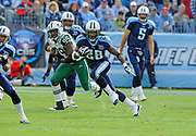 Nov 23, 2008, Nashville, Tennessee, USA;  Running back Chris Johnson of the Tennessee Titans breaks free in the open field against the New York Jets as the Titans lose to the Jets 34-13 at LP Field.