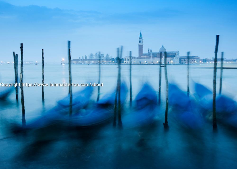 Gondolas at dawn on Grand Canal in Venice