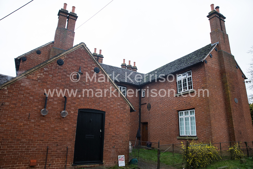 Harefield, UK. 14 January, 2020. A house which will shortly be demolished during works for the HS2 high-speed rail link. 108 ancient woodlands are also set to be destroyed by the high-speed rail link and further destruction of trees for HS2 in the Harvil Road area is believed to be imminent.