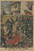 Balkan Wars: Ferdinand I of Bulgaria, according to the custom of his country, walking on on the weapons and flags of enemies conquered by his army, in this case the Turks. From 'Le Petit Journal, Paris, 10 November 1912.