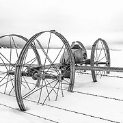 A motionless irrigation rig during the depths of winter in Star Valley, Wyoming.