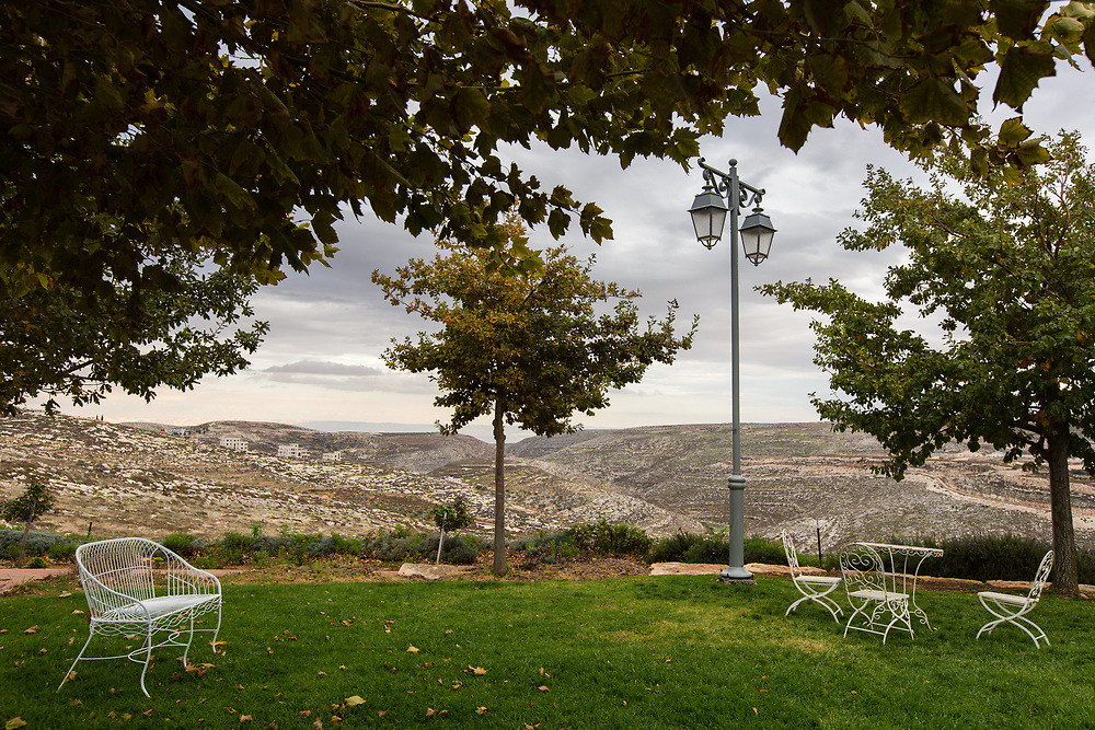 A general view of West Bank hills and local Palestinian villages, seen from Psagot Winery in the Nachalat Binyamin visitors center, near the Palestinian West Bank city of Ramallah, on November 17, 2015.