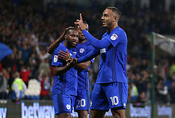 Cardiff City's Kenneth Zohore celebrates scoring his side's first goal of the game during the Sky Bet Championship game at the Cardiff City Stadium.