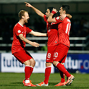 Turkey's Selcuk Inan (C) celebrate his goal with team mate during the FIFA World Cup 2014 qualification match Andorra betwen Turkey at the Andorra la Vella stadium in Andorra March 22, 2013. Photo by TURKPIX