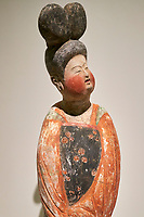 France, Paris (75), Musée Guimet, Dame au chignon à double coque, Chine du Nord, dynastie Tang, VIII siècle  // France, Paris, Guimet museum, woman with double bun, China, Tang dynasty, 8th century