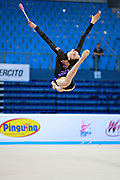 Halford Laura during qualifying at clubs in Pesaro World Cup 11 April 2015. Laura is a British rhythmic gymnast was born  February 25,1996 in Cricklade, England. She is a four-time senior British champion.